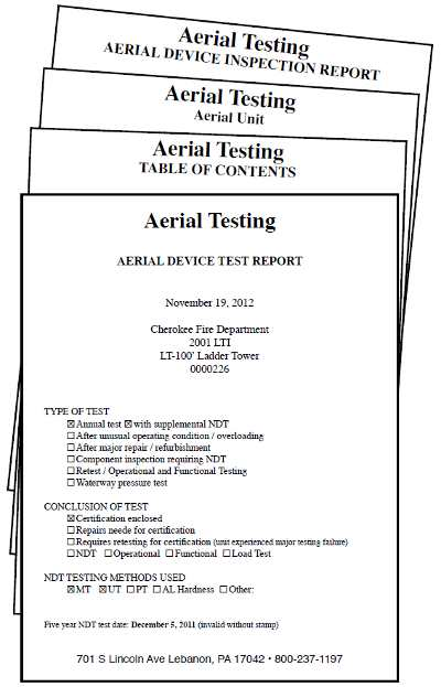 Aerial Device Inspection Reports